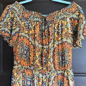 NWOT As U Wish Damask Print Maxi Dress Size Small